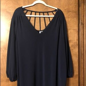 Navy shear blouse-just adorable-3/4 sleeves